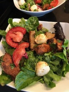Caprese Salad with Garlic Croutons and Balsamic Chicken