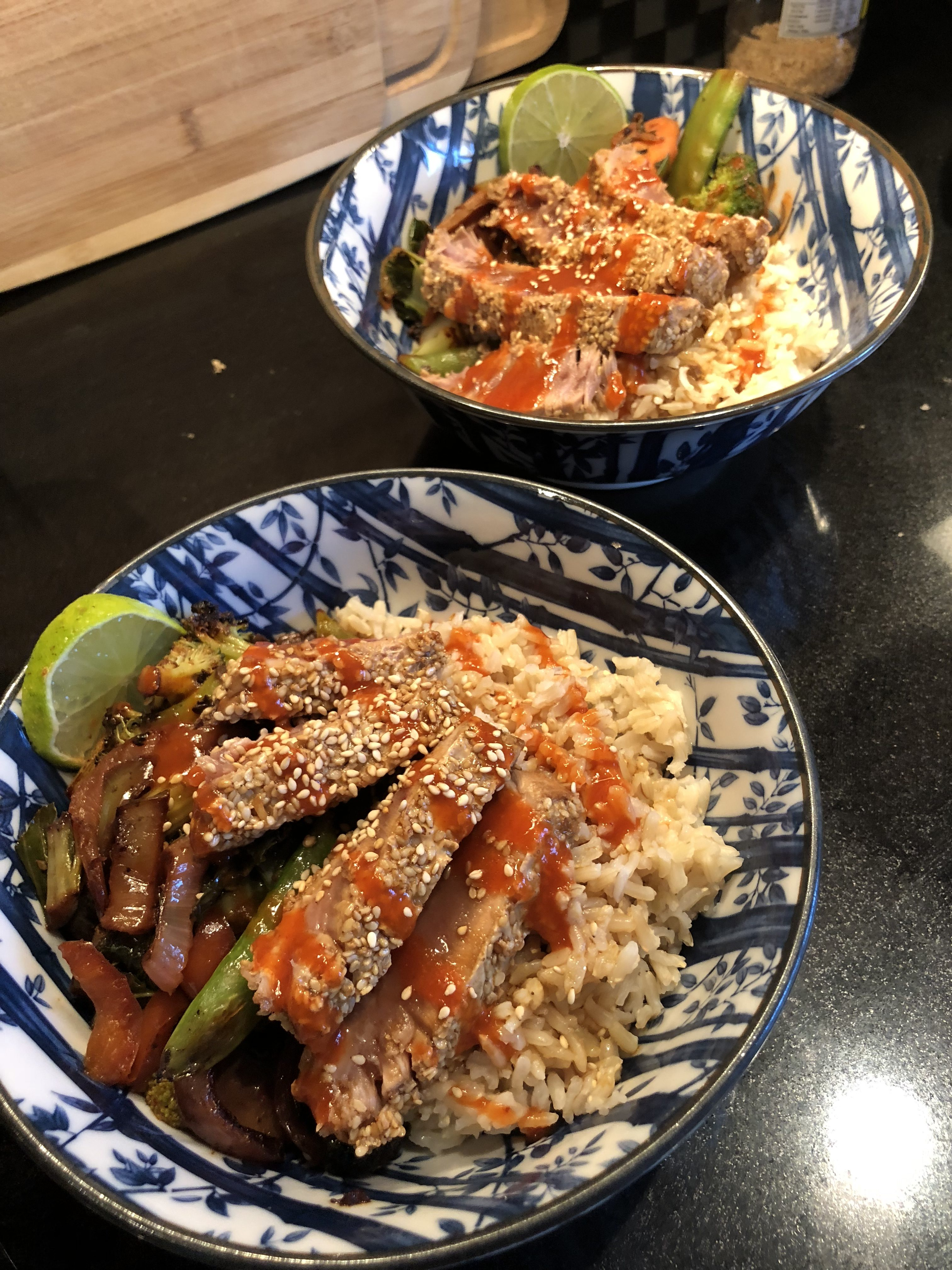 Ahi Rice Bowls with Soy Ginger Sauce